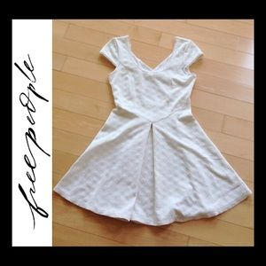 Free People Cross Back Skater Dress Cream XS